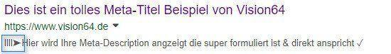 HTML Sonderzeichen Pfeil in Description
